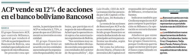 Mibanco (ACP) Vende Participación en Bancosol.